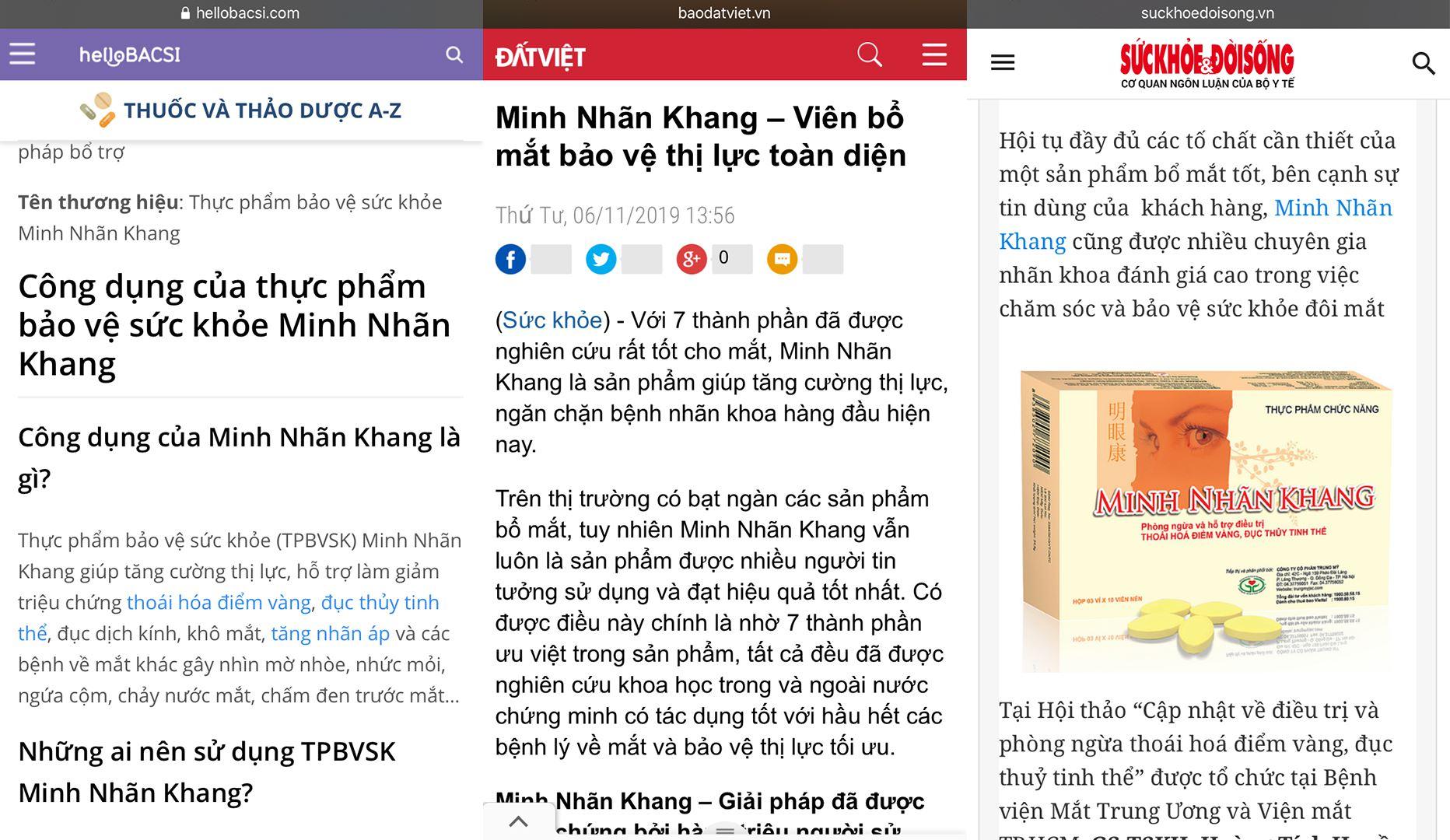 Báo chí nói về viên uống bổ mắt Minh Nhãn Khang